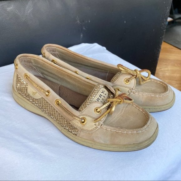 Sparkly Gold Sperry Boat Shoes Flats